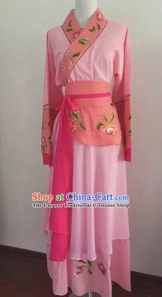 Chinese Huangmei Opera Maidservants Pink Dress Traditional Beijing Opera Diva Costume for Adults