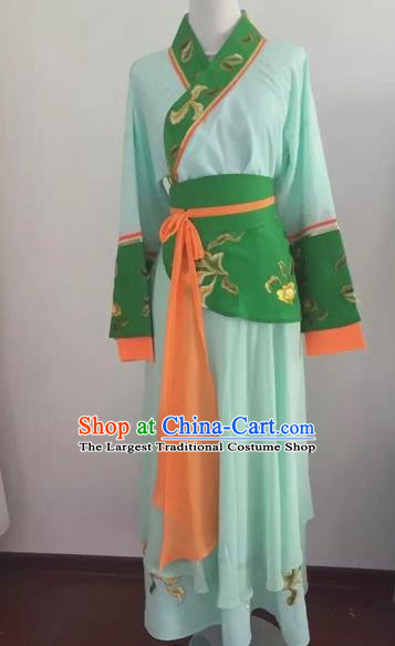 Chinese Huangmei Opera Maidservants Green Dress Traditional Beijing Opera Diva Costume for Adults