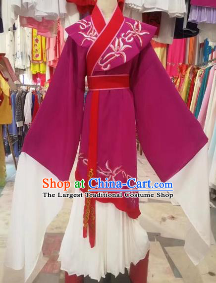 Chinese Beijing Opera Pantaloon Wine Red Clothing Ancient Woman Matchmaker Costume for Adults
