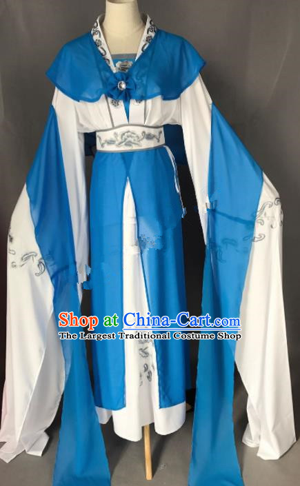 Chinese Ancient Imperial Consort Blue Costume Traditional Beijing Opera Actress Dress for Adults