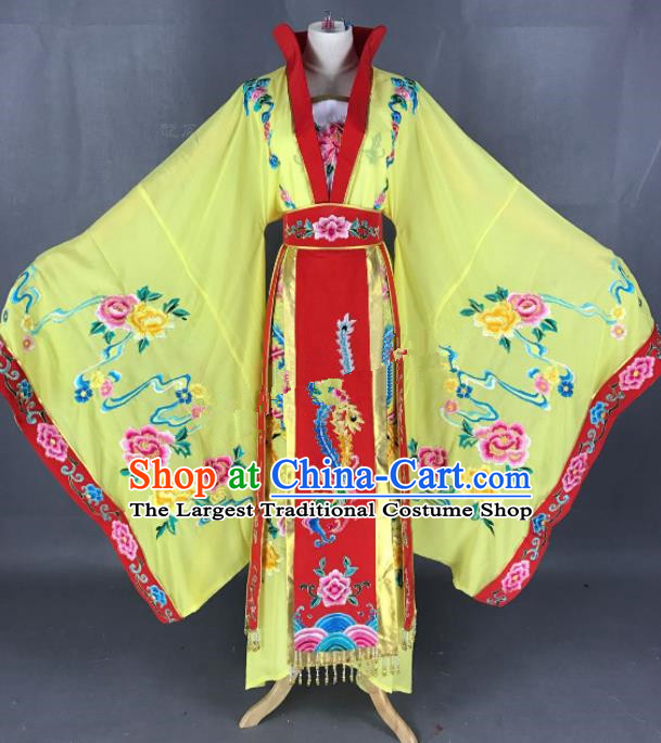 Chinese Ancient Empress Yellow Dress Traditional Beijing Opera Queen Costume for Adults