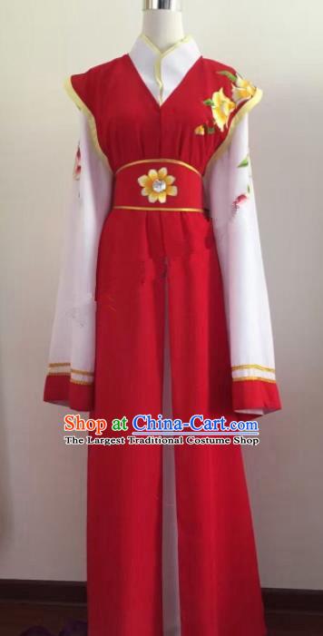 Chinese Ancient Young Lady Red Dress Traditional Beijing Opera Actress Costume for Adults