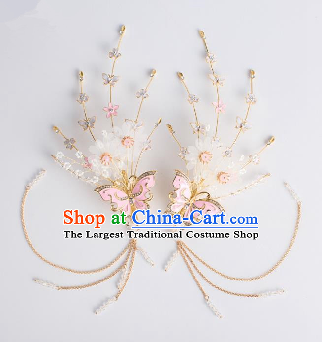 Chinese Ancient Hanfu Wedding Pink Butterfly Hair Claws Hair Accessories Traditional Hairpins for Women