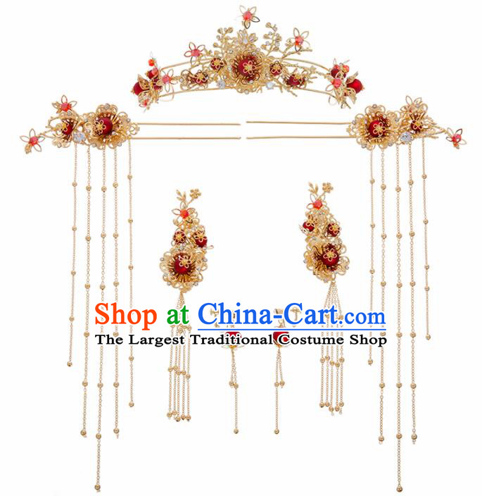 Chinese Ancient Golden Hair Clasp Wedding Hair Accessories Traditional Hairpins for Women