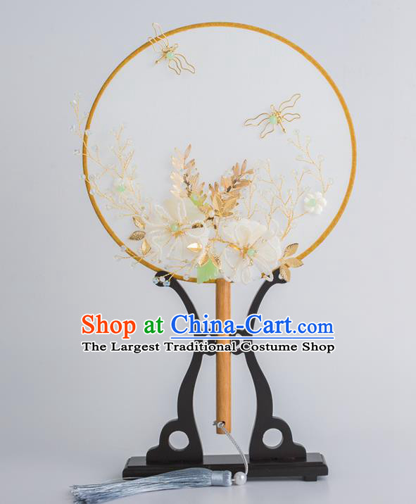 Chinese Traditional Palace Fans Ancient Bride Wedding Silk Bowknot Round Fans for Women