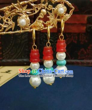 Chinese Ancient Agate Earrings Qing Dynasty Manchu Palace Lady Ear Accessories for Women