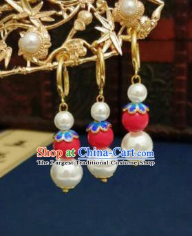 Chinese Ancient Red and White Beads Earrings Qing Dynasty Manchu Palace Lady Ear Accessories for Women