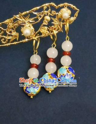 Chinese Ancient Cloisonne Earrings Qing Dynasty Manchu Palace Lady Ear Accessories for Women