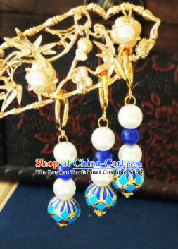 Chinese Ancient Blueing Beads Earrings Qing Dynasty Manchu Palace Lady Three Strings Ear Accessories for Women