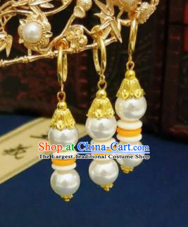 Chinese Ancient Three Strings Earrings Qing Dynasty Manchu Palace Lady Ear Accessories for Women