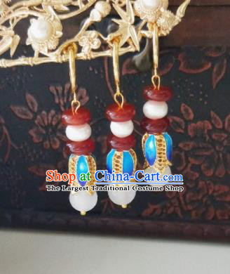 Chinese Ancient Earrings Qing Dynasty Manchu Palace Lady Three Strings Cloisonne Flowers Ear Accessories for Women