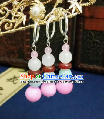 Chinese Ancient Earrings Qing Dynasty Manchu Palace Lady Three Strings Pink Beads Ear Accessories for Women