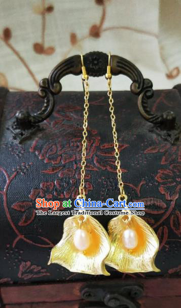 Chinese Ancient Pearls Golden Earrings Qing Dynasty Manchu Palace Lady Ear Accessories for Women