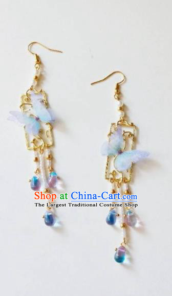 Chinese Ancient Blue Butterfly Earrings Qing Dynasty Manchu Palace Lady Ear Accessories for Women
