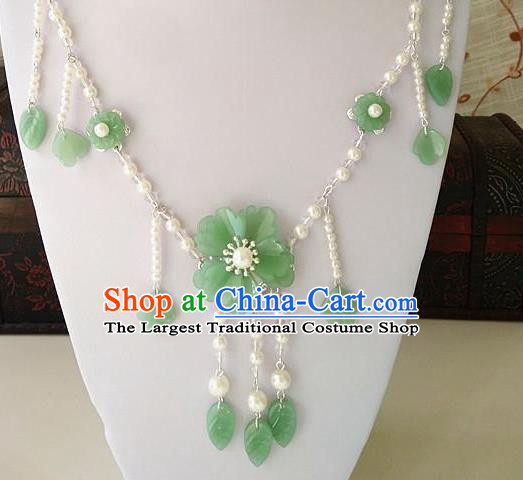 Top Grade Chinese Wedding Accessories Green Flowers Hanfu Necklace for Women