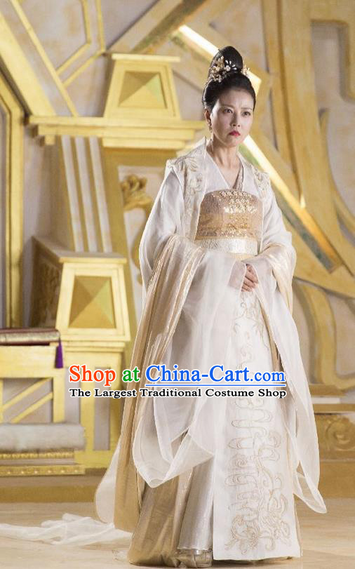 The Honey Sank Like Frost Chinese Ancient Queen Hanfu Dress Costumes and Headpiece for Women
