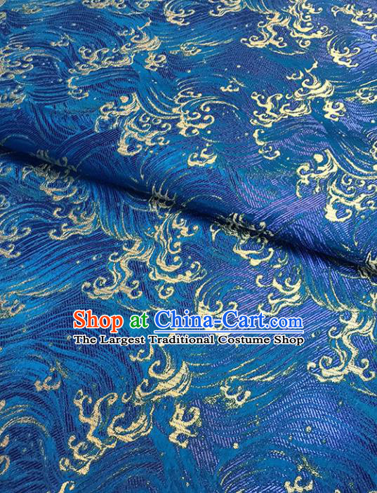 Asian Chinese Traditional Cheongsam Blue Brocade Fabric Silk Fabric Chinese Fabric Material