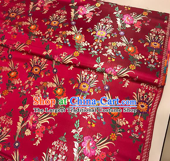 Asian Wine Red Brocade Chinese Traditional Begonia Pattern Fabric Silk Fabric Chinese Fabric Material