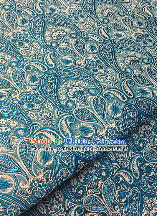 Asian Chinese Blue Brocade Traditional Pattern Fabric Silk Fabric Chinese Fabric Material