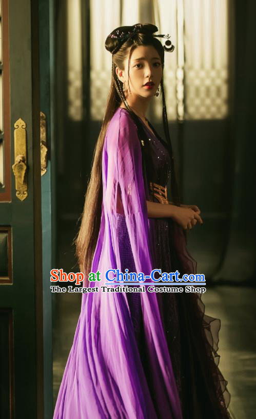 Chinese Ancient Peri Costume Traditional Princess Purple Dress for Women