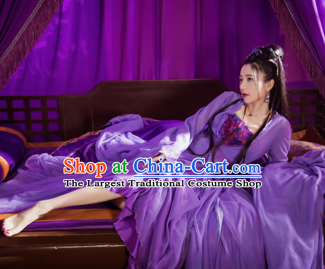 Chinese Ancient Peri Costumes Traditional Princess Swordsman Hanfu Dress