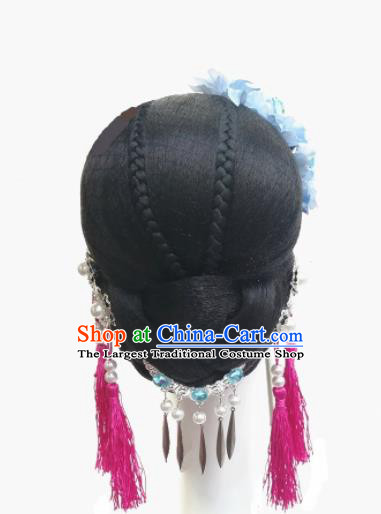 Chinese Traditional Classical Dance Hair Accessories Folk Dance Headwear and Wigs for Women
