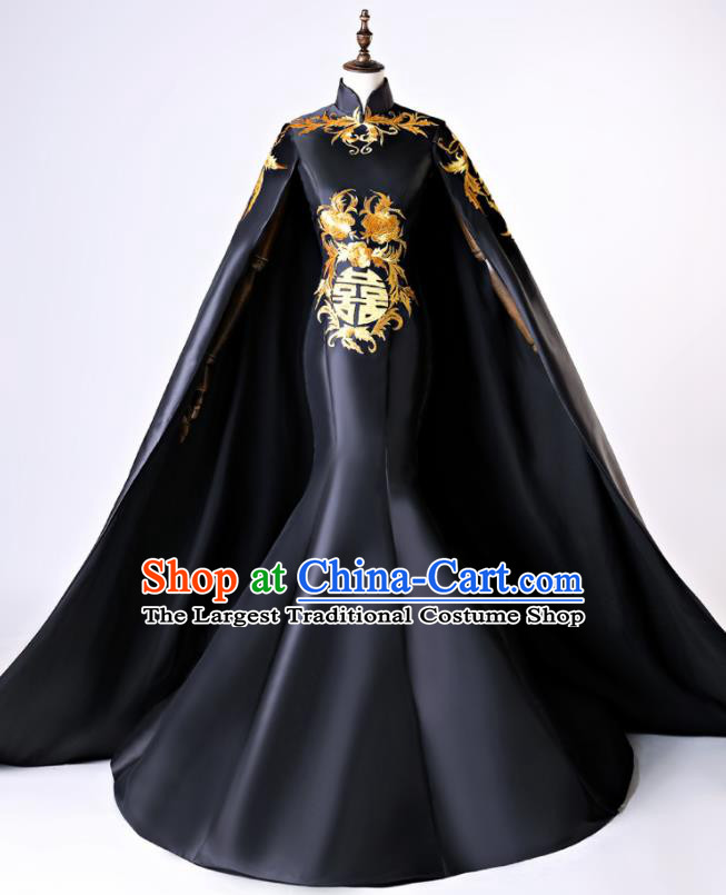 Chinese Traditional Peony Pattern Black Full Dress Compere Chorus Costume for Women