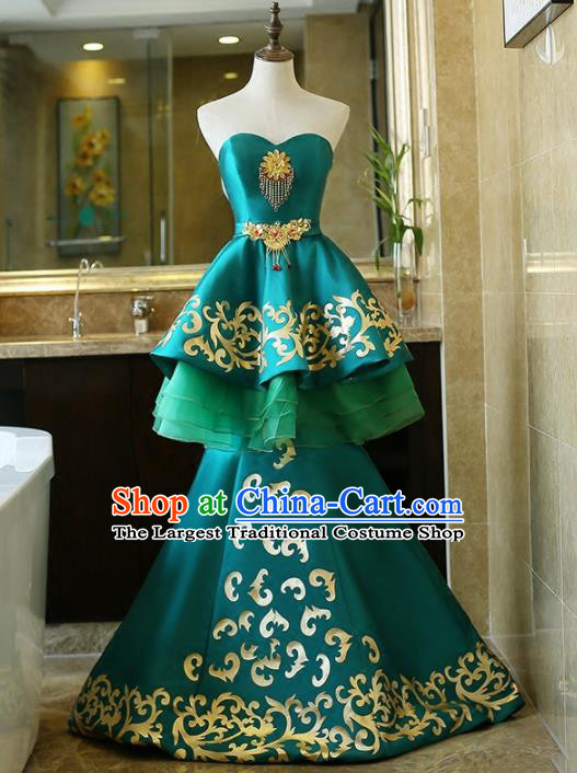 Chinese Traditional Compere Green Full Dress Embroidered Cheongsam Chorus Costume for Women