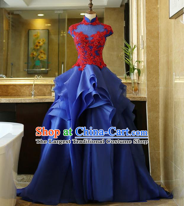 Chinese Traditional Compere Blue Full Dress Embroidered Cheongsam Chorus Costume for Women
