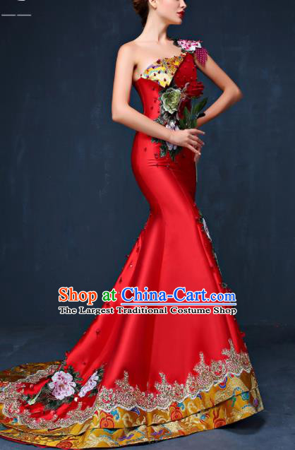 Chinese Traditional Compere Red Full Dress Embroidered Peony Cheongsam Chorus Costume for Women