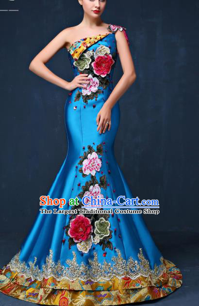 Chinese Traditional Compere Blue Full Dress Embroidered Peony Cheongsam Chorus Costume for Women
