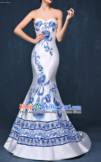 Chinese Traditional Compere White Full Dress Embroidered Peony Cheongsam Chorus Costume for Women