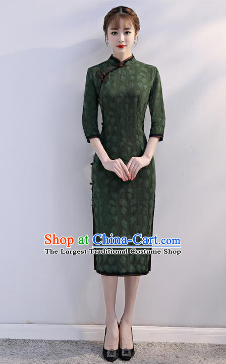 Chinese Traditional Full Dress Deep Green Short Cheongsam Compere Costume for Women