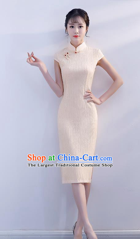 Chinese Traditional Beige Qipao Dress Short Cheongsam Compere Costume for Women