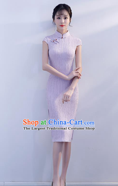 Chinese Traditional Lilac Qipao Dress Short Cheongsam Compere Costume for Women