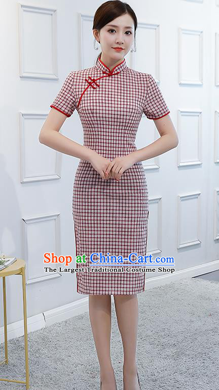 Chinese Traditional Retro Qipao Dress Short Cheongsam Compere Costume for Women