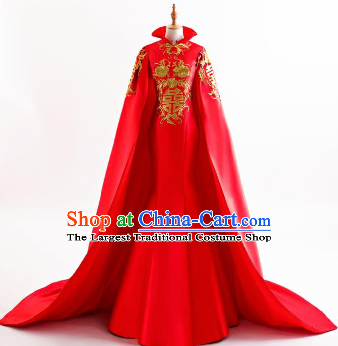 Chinese Traditional Embroidered Peony Cheongsam Red Full Dress Compere Chorus Costume for Women