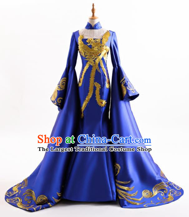 Chinese Traditional Embroidered Royalblue Cheongsam Full Dress Compere Chorus Costume for Women