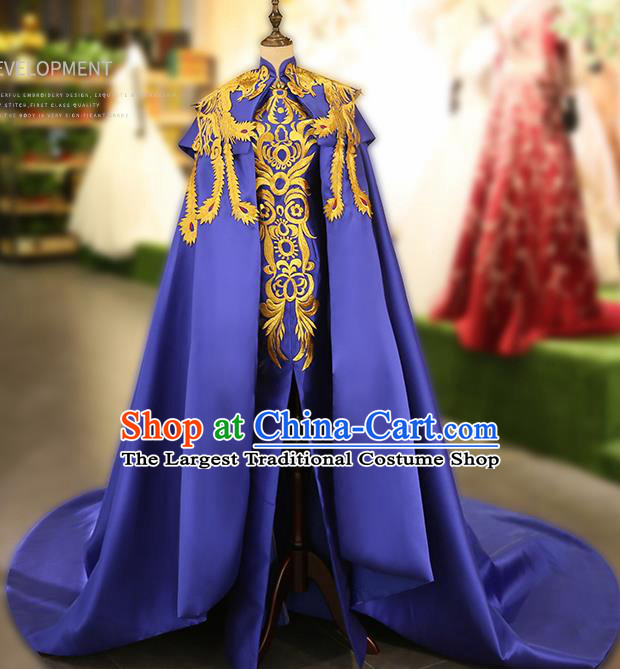 Chinese Traditional Embroidered Blue Cheongsam Full Dress Compere Chorus Costume for Women