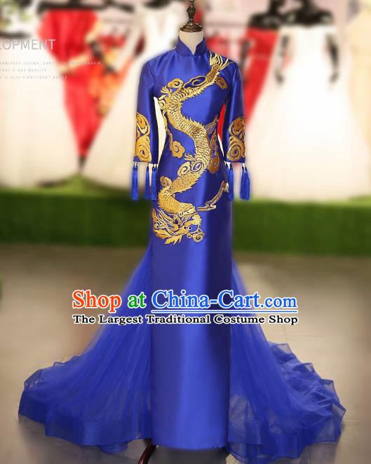 Chinese Traditional Embroidered Dragon Royalblue Full Dress Compere Chorus Costume for Women