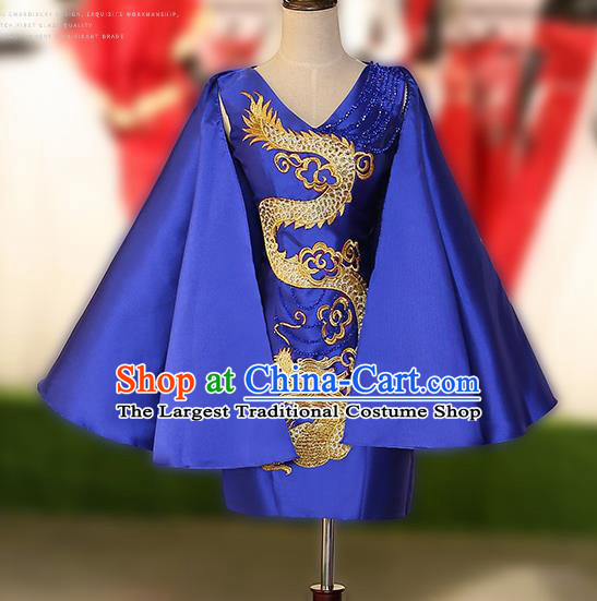 Chinese Traditional Embroidered Dragon Royalblue Short Full Dress Compere Chorus Costume for Women