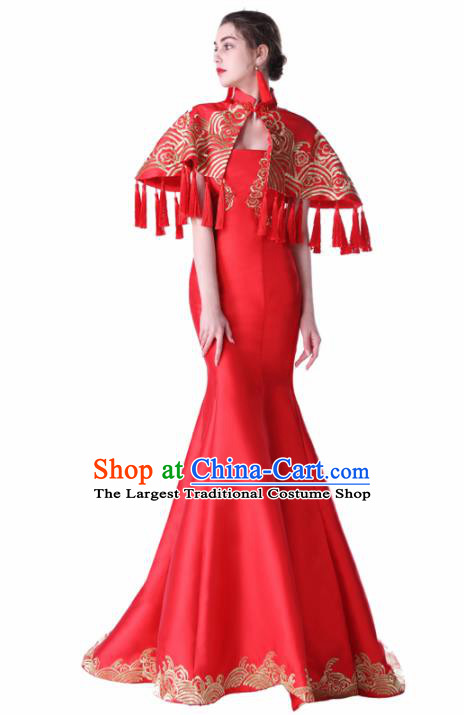 Chinese Traditional Embroidered Red Full Dress Compere Chorus Costume for Women