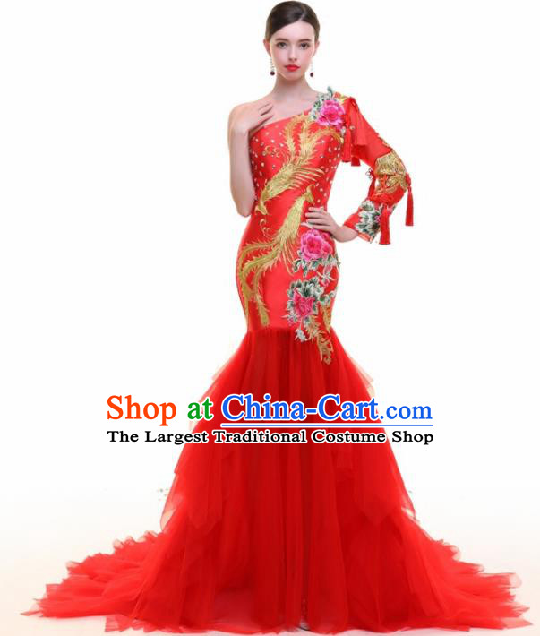Chinese Traditional Embroidered Phoenix Peony Red Full Dress Compere Chorus Costume for Women