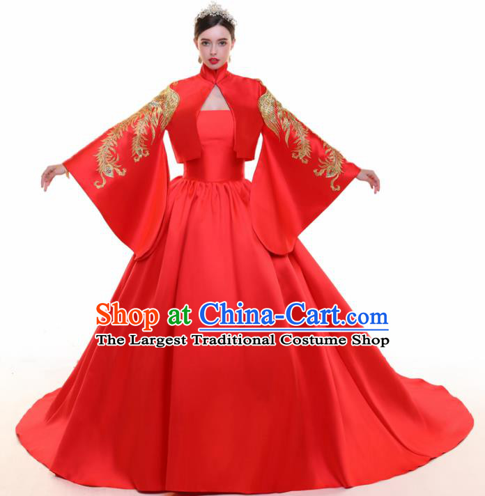 Chinese Traditional Embroidered Trailing Red Full Dress Compere Chorus Costume for Women