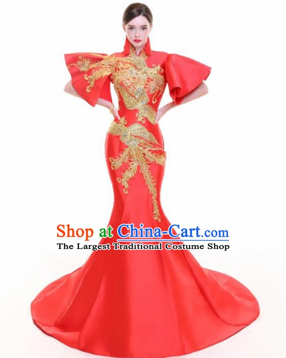 Chinese Traditional Embroidered Phoenix Red Cheongsam Full Dress Compere Chorus Costume for Women