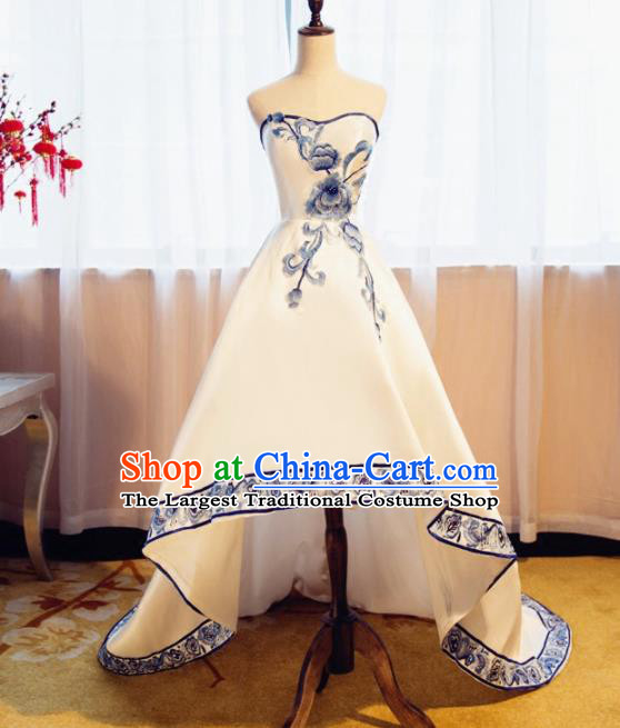 Chinese Traditional Embroidered Peony Full Dress Compere Chorus Costume for Women