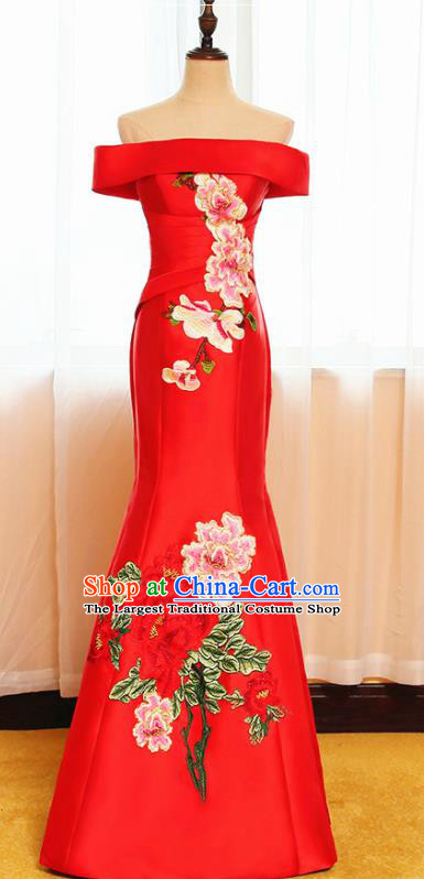 Chinese Traditional Embroidered Peony Off Shoulder Red Full Dress Compere Chorus Costume for Women