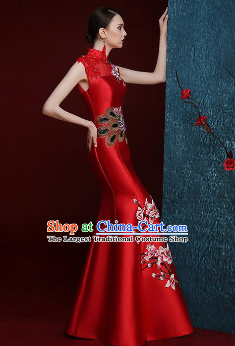 Chinese Traditional Compere Full Dress Embroidered Mangnolia Red Cheongsam Chorus Costume for Women