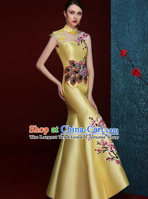 Chinese Traditional Compere Full Dress Embroidered Mangnolia Yellow Cheongsam Chorus Costume for Women