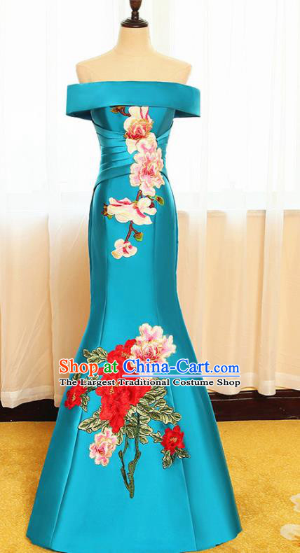 Chinese Traditional Embroidered Peony Off Shoulder Blue Full Dress Compere Chorus Costume for Women